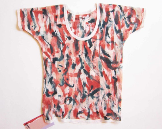 "Linen jersey hand painted t-shirt with brush strokes in brick color ""Lascaux"" size XS"