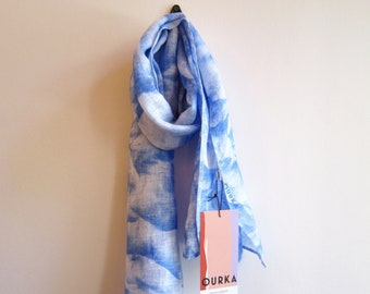"""Linen hand painted scarf """"Nuage"""" with blue cloudy abstract print"""