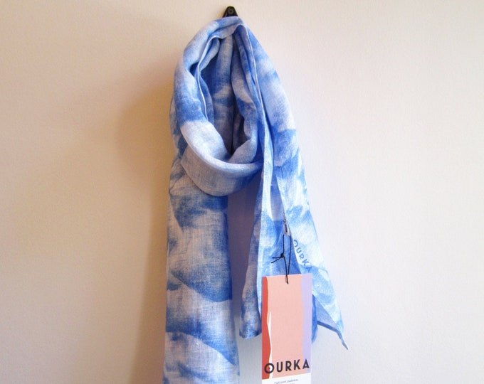 "Linen hand painted scarf ""Nuage"" with blue cloudy abstract print"
