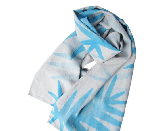 "Hand painted beige linen scarf with sky blue florals ""Isa"""
