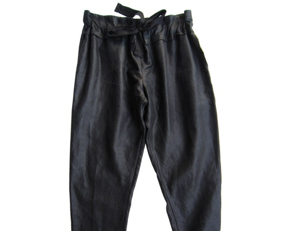 "Linen pants in shiny black ""Chintz"", adjustable waist, size M - L"