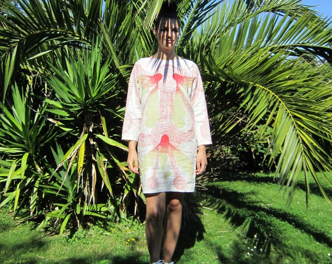 "Linen dress ""OMA"", hand painted with poetic red and green flying fishes and red dots"