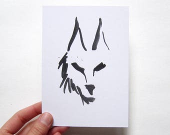 Black wolf illustration, ink drawing, digital print on recycled paper