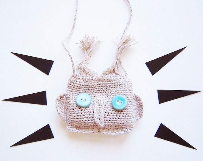 Necklace grey blue eyes mask crochet natural yarn lucky charm