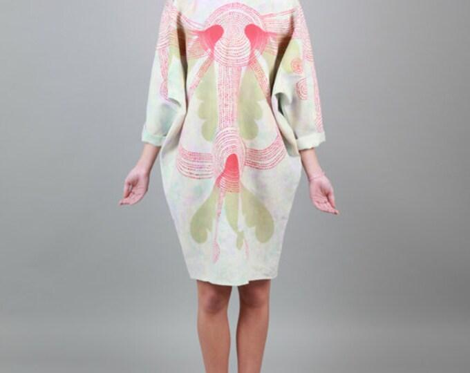Maxi Linen Dress, flying fish hand-painted linen. Unique Item.