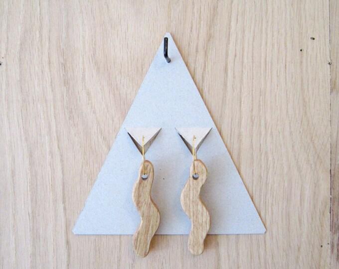 Wooden earrings in snake shape, with golden brass hoops