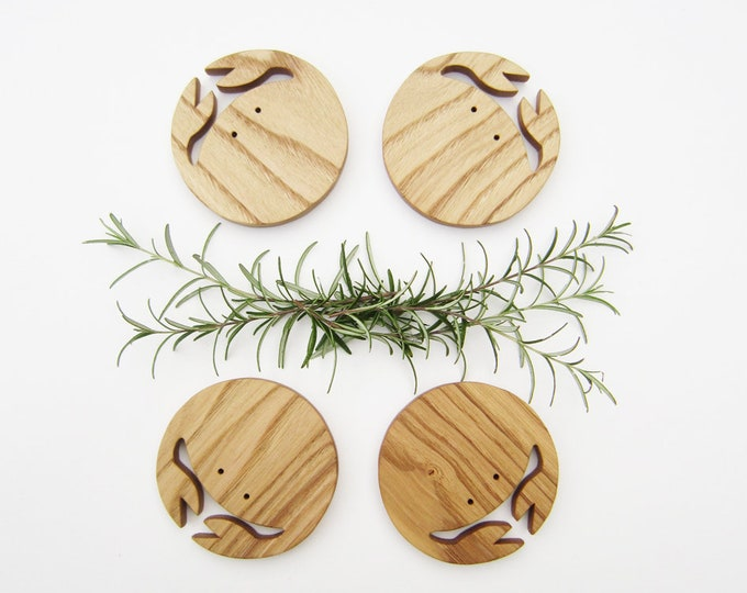 Crab Coasters in chestnut tree wood