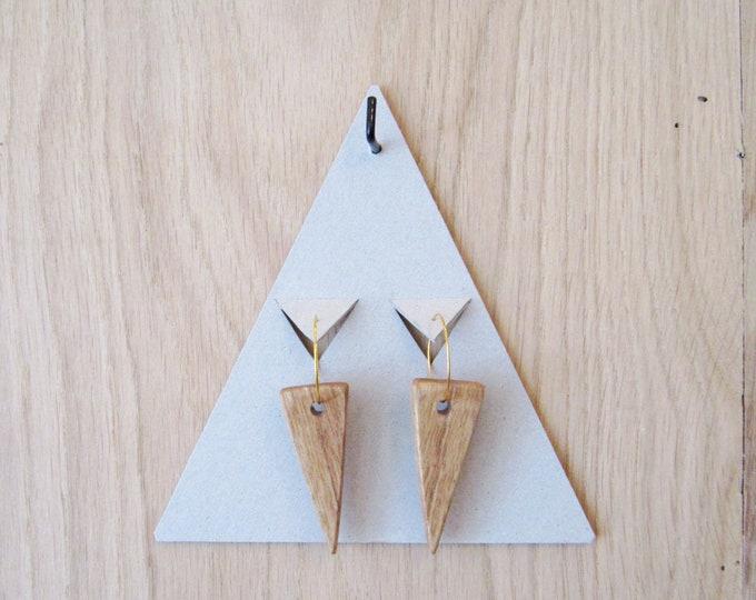 Wooden earrings in triangle shape, with golden brass hoops