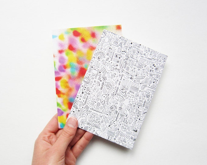 Postcards, digital printing of original drawings, print on 100% recycled paper, by 2