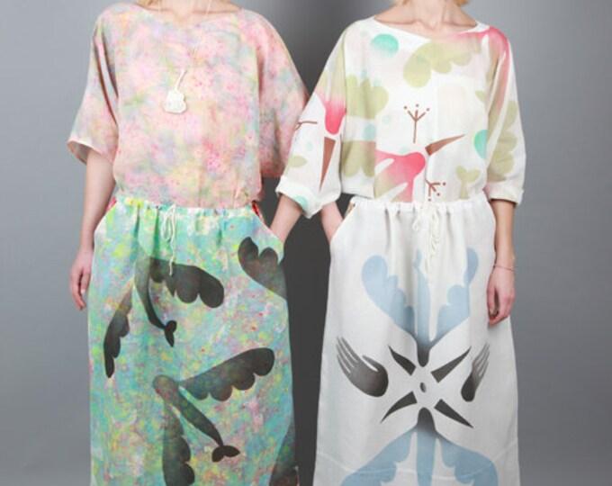 "Long linen skirt ""flying fish"" print, eco-friendly fashion"