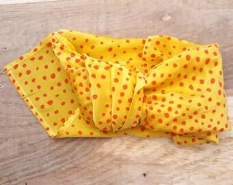 Yellow Silk satin bandana hand painted with red polka dots
