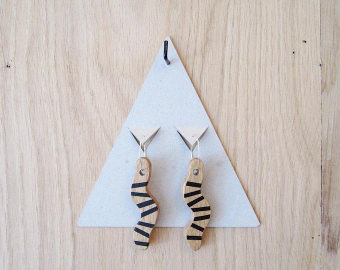 Wooden earrings black stripes on snake shape, with silver brass hoops