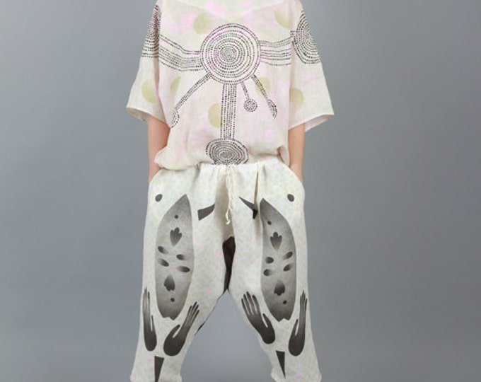 """Large woman linen pants """"black mask"""", adjustable size, unique painted wearable art"""