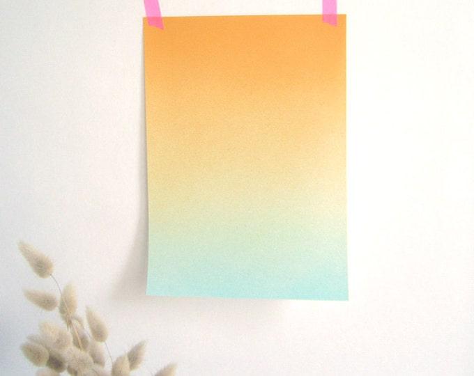 Airbrushed Gradient orange et bleu print A4