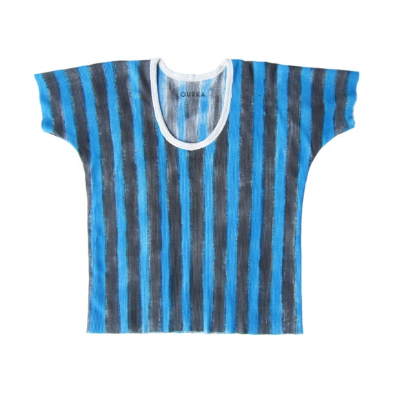 "Ribbed cotton off-white jersey t-shirt painted in black and blue stripes, ""Donna"", size M"