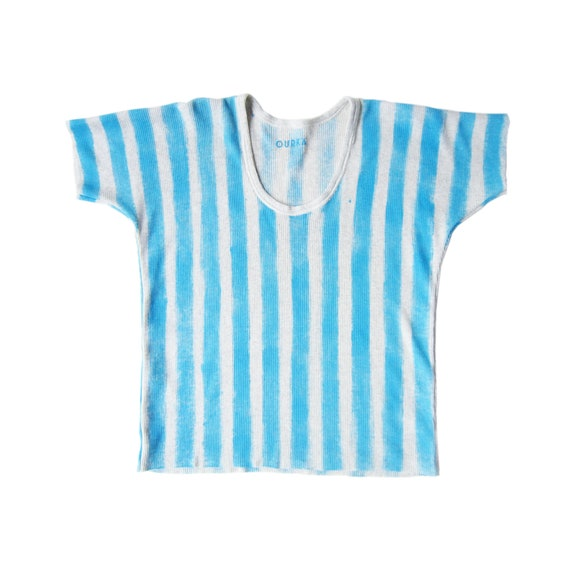 """Ribbed cotton off-white jersey t-shirt painted in sky blue stripes, """"Kelly"""", size M"""