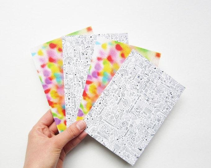 Postcards, digital printing of original drawings, print on 100% recycled paper, by 4