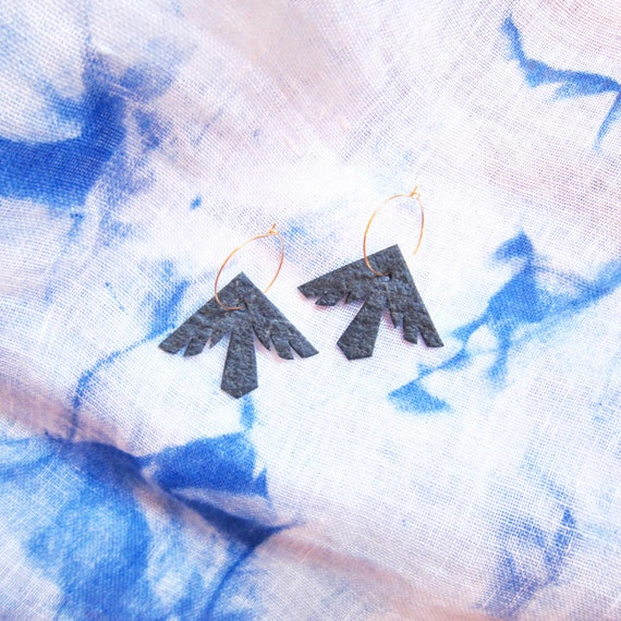Blue bird natural vegan fake leather earrings, with golden or silver brass hoops