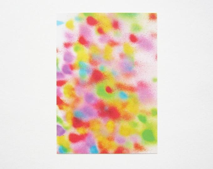 Graffiti postcard, spray painted dots illustration digital print on recycles paper