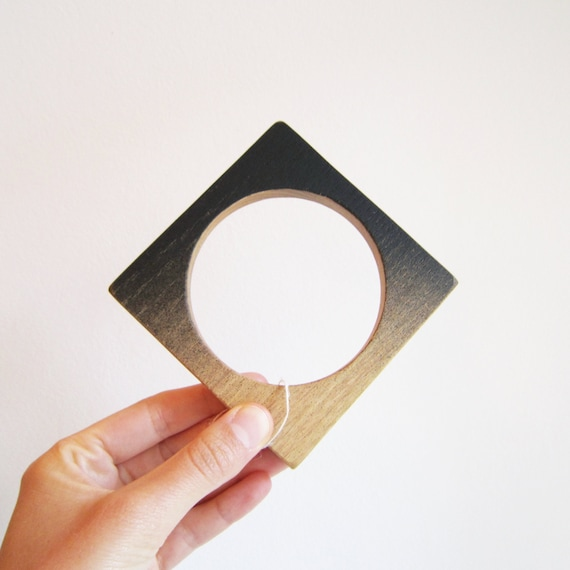 Square Wood bangle bracelet painted in black gradient, large size