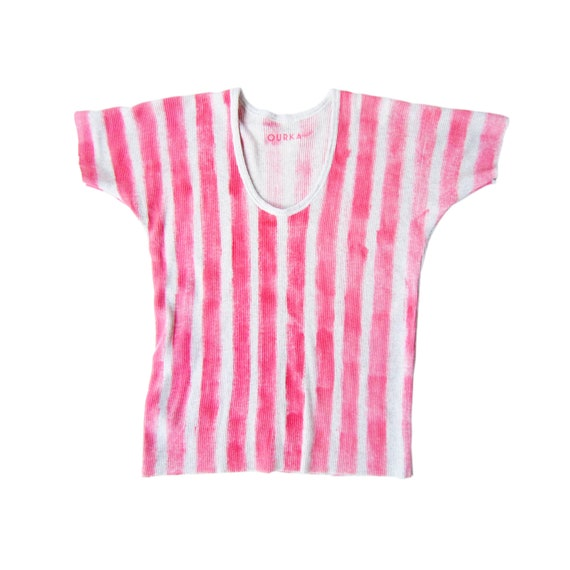 """Ribbed cotton off-white jersey t-shirt painted in pink stripes, """"Brenda"""", size M"""