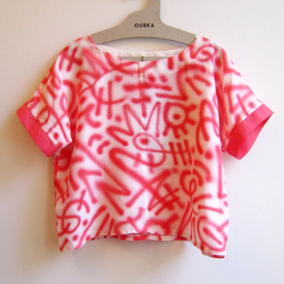 "White Linen t-shirt hand painted in red abstract graffiti ""Bomb"" , MADE TO ORDER"