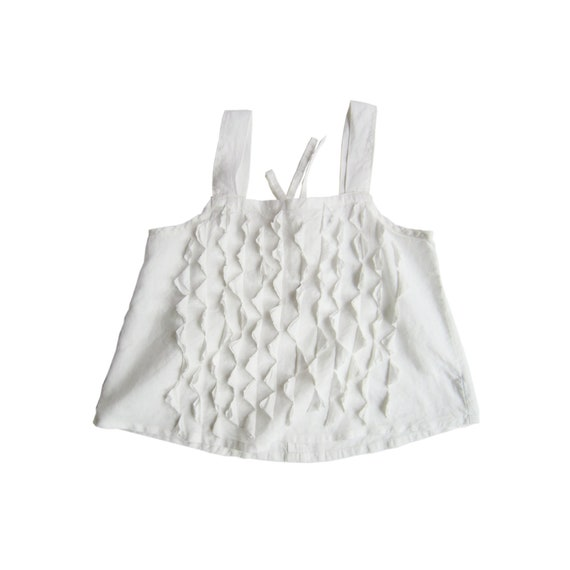 "Linen tanktop ""Osa"" white embroidery in linen, size L, MADE TO ORDER"