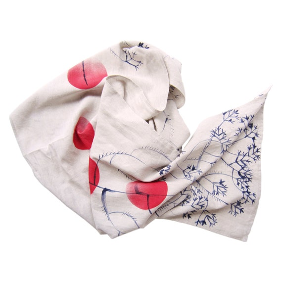 "Hand painted beige linen scarf with japan inspired red suns and purple floral ""Marnie"""