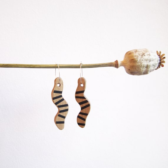 Wooden earrings black stripes on snake shape, with silver brass hoops