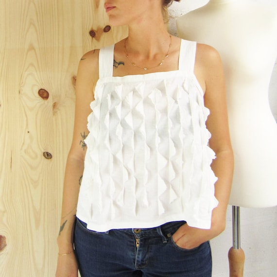 "Linen tanktop ""Osa"" white embroidery in linen, size M"