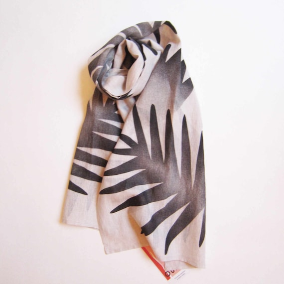 "Hand painted natural linen scarf with black floral graphics ""Medeina"""