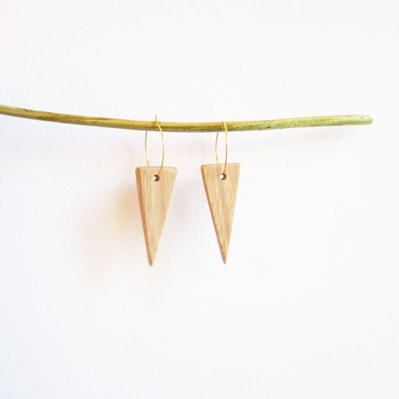 triangle natural wood earrings, with golden brass hoops