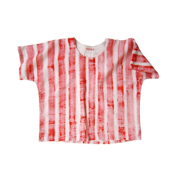 "Linen t-shirt ""Louisa"" hand painted in red brush strokes stripes, size L"