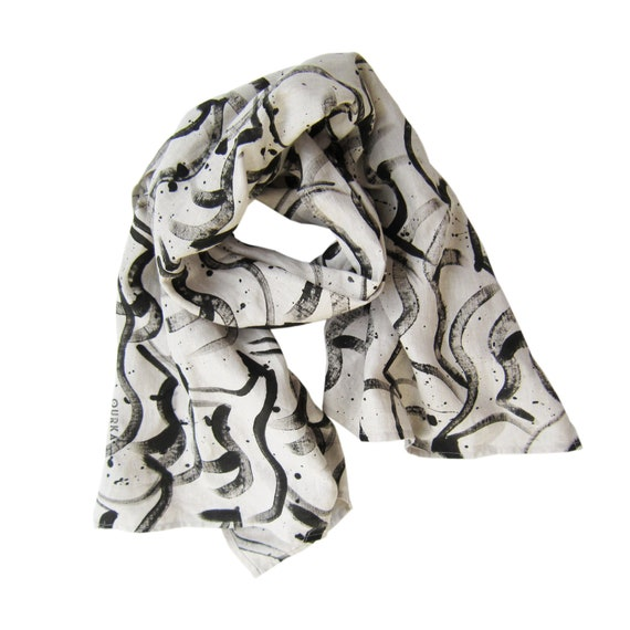 """Hand painted natural linen scarf with black brush strokes horses """"La Harde"""""""
