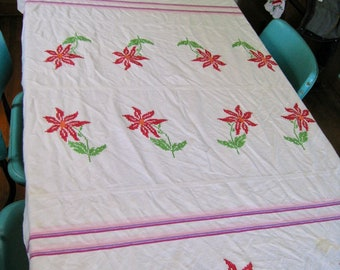 Genial Vintage Tablecloth. White Red Flowers, Pink And Purple Stripe. Flour Sack  Tablecloth Vintage 1960s. 52 By 90 Inches.