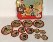 Ohio Art Wedding tin litho dishes. Wedding scene. 15 piece set with tray, plates, small plates, saucers. Kitschy vintage tin toy tea set