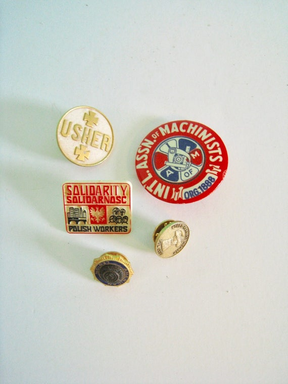 Vintage pin and button collection  5 pieces instant collection  Union,  Legion, Cult themes  Buttons, enamel pins, plastic pins, tie tack
