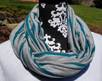 Infinity Nursing Scarf, Breastfeeding Cover, Nursing Scarf, Infinity Scarf, Nursing Cover, Teal Green Gray Jersey Knit, New Mom, Baby Shower