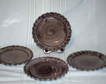"4 Stangl Terra Rose Pie Crust Dinner / Charger  Plates ..Purple Mauve 11"""
