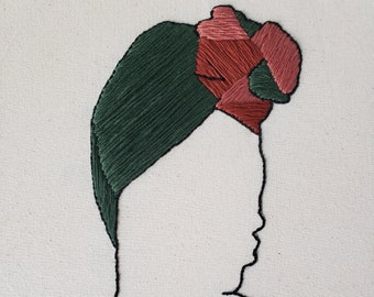 Warm Green Colored Headwrap Embroidery Art, Hand Embroidered, Wall Art