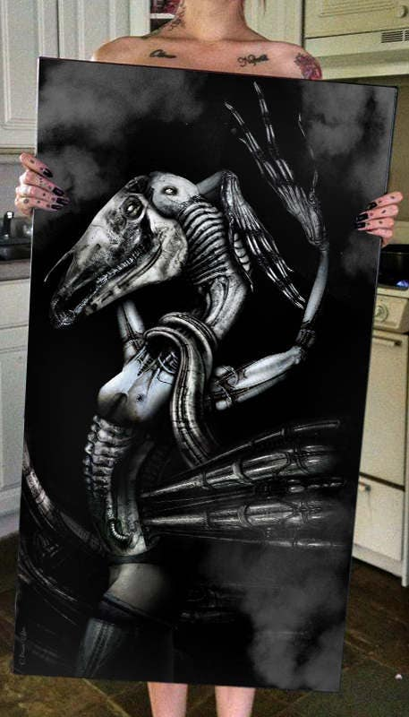 H.R. Giger Inspired Biomechanical Disturbing Demon Ram Monster