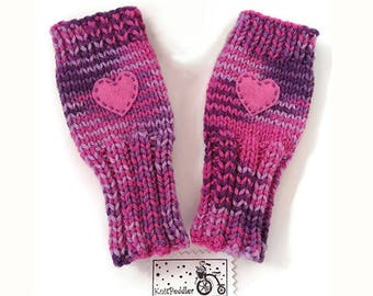 Girls Fingerless Gloves, Girls Heart Gloves, Gloves with Heart, Berry Pudding, Pink Heart, Sweetheart Gloves, Big Kids, Cute and Warm
