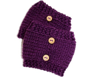 Knit Boot Cuffs, Womens Knitted Boot Cuffs, Purple Boot Cuffs, Ladies Boot Toppers,  Button Boot Cuffs, Boot Warmers