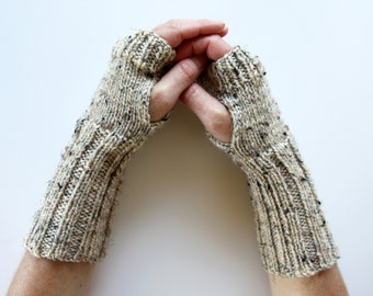 Knit Arm Warmers, Texting Gloves, Oatmeal Fingerless Gloves, Simple Warm Gloves, Womens Fingerless Gloves, Teen Armwarmers, Hygge