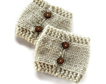 Knit Boot Cuffs, Womens Knitted Boot Cuffs, Ladies Boot Toppers, Cream Boot Cuffs, Button Boot Cuffs, Custom Boot Cuffs, Boot Warmers