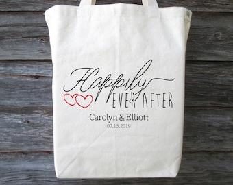Bridal Bag Vacation Tote Bag Reusable Bag Travel Bag Happily Ever After Bride Tote Bag Canvas Bag Large Canvas Tote Bag