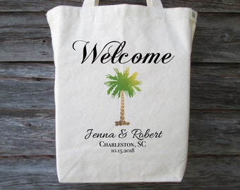 Charleston gift etsy palmetto tree wedding tote bag personalized wedding tote wedding welcome bag wedding guest bag charleston south carolina wedding tote negle Gallery