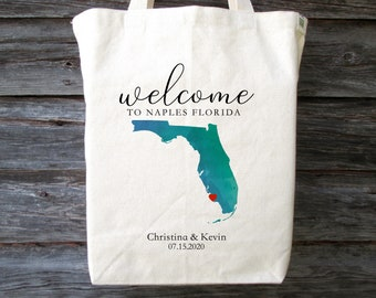 Wedding Bag Wedding Favor Florida Welcome Bag Bridesmaid Gift Wedding Souvenir South Beach Miami Custom Tote Beach Tote