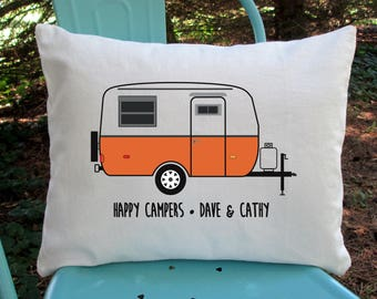 Personalized Travel Pillow Camper Trailer Vintage Small