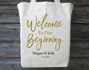 Wedding welcome bags etsy wedding welcome bag wedding guest bag wedding hotel tote bag welcome to our beginning welcome to our beginning tote bag wedding bag junglespirit Image collections